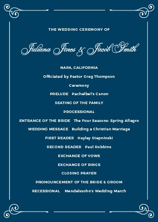 Keep your ceremony on track with the Contemporary Frame Wedding Programs.