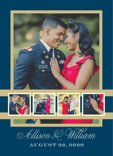Showcase your favorite engagement photos on the Snapshot Script Wedding Invitations.