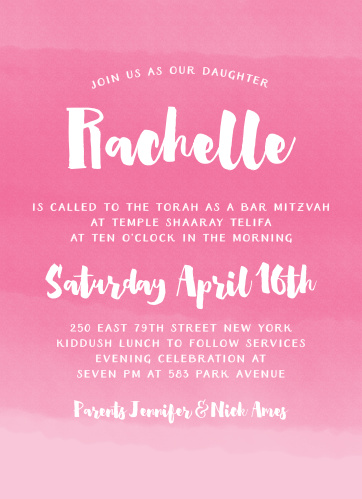 Bat mitzvah invitations match your colors style free basic invite watercolor ombre bat mitzvah invitations m4hsunfo