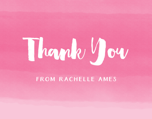 Wrap up your perfect Bat Mitzvah experience with the Watercolor Ombre Thank You cards. Express your gratitude to all your family and friends with a personalized Thank You card.