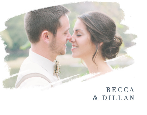 Your wedding photo is artistically displayed on the Brushstroke Bliss Thank You Cards.