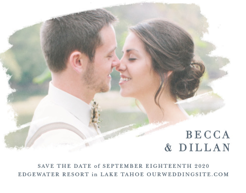 Your photo is artistically displayed on the Brushstroke Bliss Photo Save-the-Date Cards.