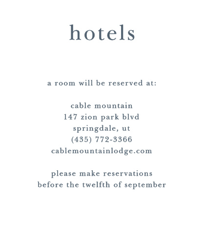 Let guests know about hotel reservations you have made for them with the Brushstroke Bliss Accommodation Cards.