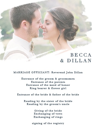 The Brushstroke Bliss Wedding Programs organize your ceremony with elegant simplicity.