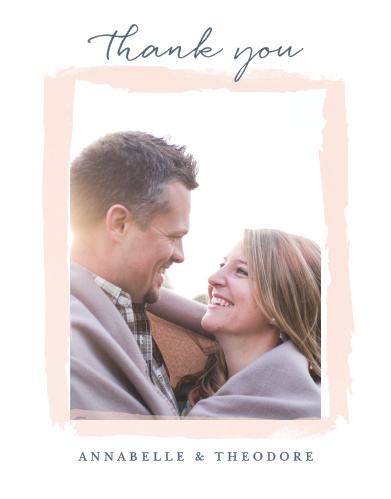 Frame your wedding photo with the artistic brushstrokes of the Brushed Frame Wedding Thank You Cards.