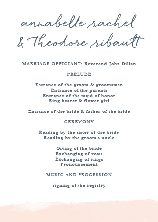 Set the tone for your wedding ceremony with the Brushed Frame Wedding Programs.