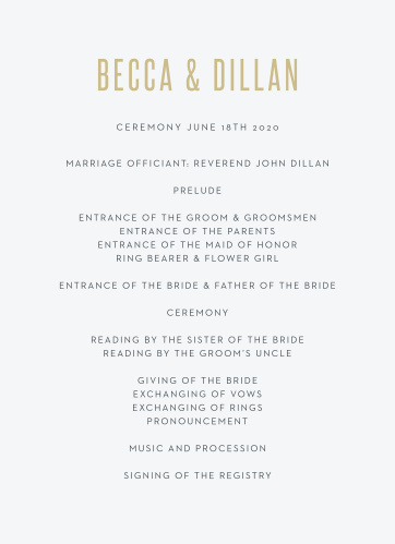 The Classy Confetti Wedding Programs complement almost any wedding theme.