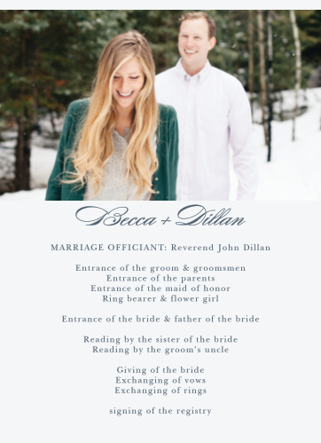 The Incredibly Effortless Wedding Programs' clean and balanced style will coordinate perfectly with your elegant wedding ceremony.