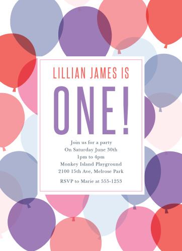Celebrate your growing little lady with the Buoyant Balloons Girl First Birthday Invitations.