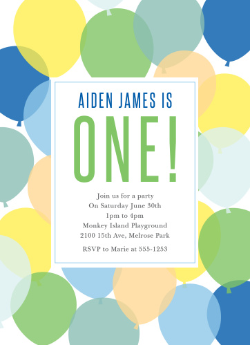 Celebrate your growing boy with the Buoyant Balloons Boy First Birthday Invitations.