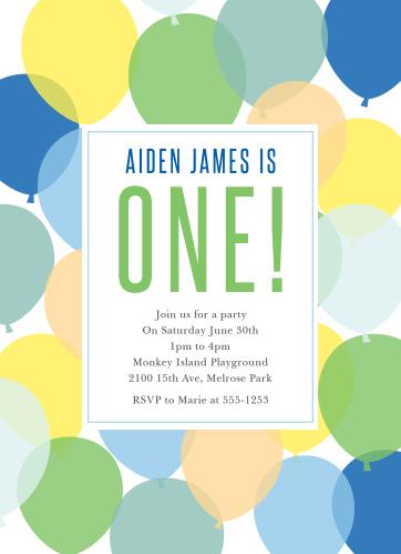 First birthday invitations 40 off super cute designs basic invite buoyant balloons boy first birthday invitations filmwisefo