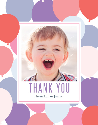 Add your daughter's photo to the Buoyant Balloons Girl First Birthday Party Thank You Cards.