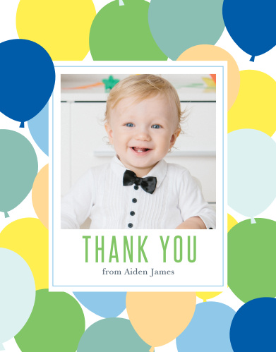 Add your son's photo to the Buoyant Balloons Boy First Birthday Party Thank You Cards.
