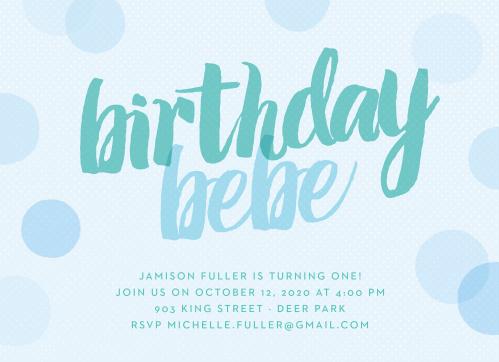 Polka dot birthday invitations match your color style free big script boy first birthday invitations filmwisefo
