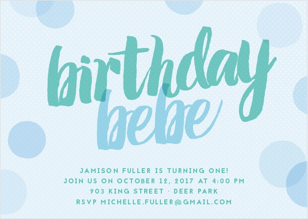 Layers of polka dots and a chunky brush font give the Big Script Boy First Birthday Invitations cute, modern appeal.