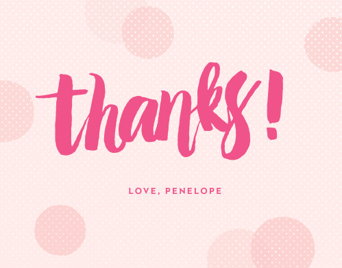 "Say ""Thanks!"" with the cute, modern design of the Big Script Girl Thank You Cards."