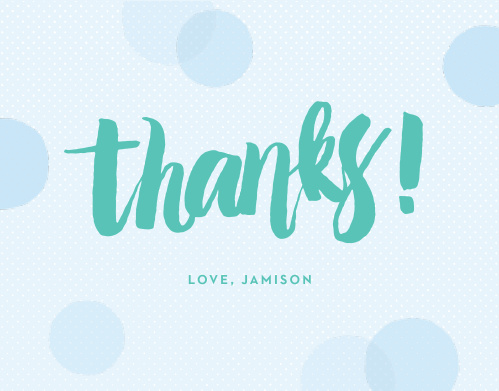 "Say ""Thanks!"" with the cute, modern design of the Big Script Boy Thank You Cards."