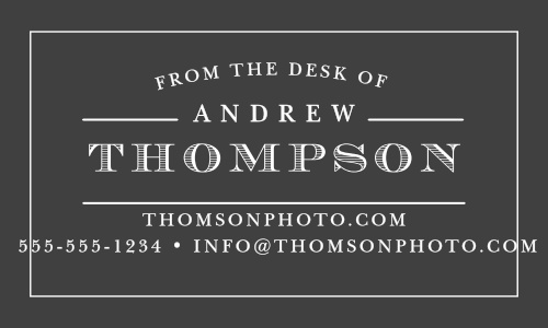Your name in a vintage typeface creates a strong impression on The Desk Of Business Cards.