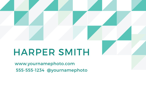 A pattern of triangles and squares on the front and the back makes the Chic Geometric Business Cards a modern and stylish way to advertise your business.