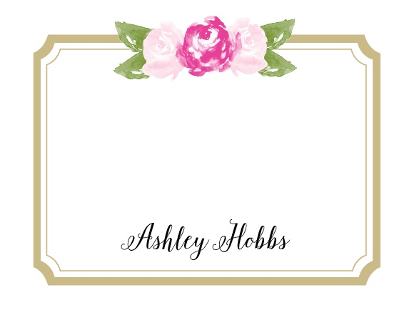 Watercolor flowers in your choice of colors adorn the top of the Floral Stripe Business Stationery.