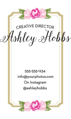 Watercolor flowers and a scallop frame make the Floral Stripe Business Cards a cute and professional way to promote your business.