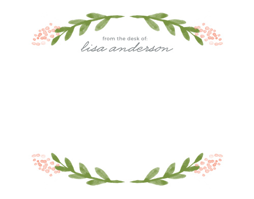 Delicate florals frame each page of the Garden Watercolors Business Stationery.