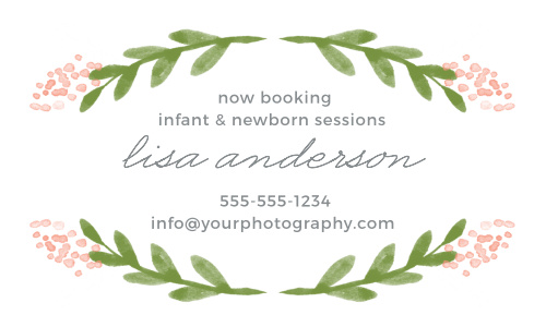 Delicate florals frame your info on the Garden Watercolors Business Cards.