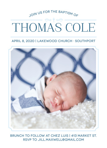 Invite friends and family to celebrate your son's baptism or christening with the Classic Cross Boy Baptism Invitations.