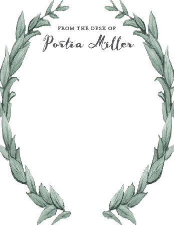 Frame your stationery with the gorgeous laurel wreath of the Leafy Love Business Stationery.