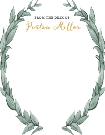 Frame your stationery with the gorgeous laurel wreath of the Leafy Love Foil Business Stationery.