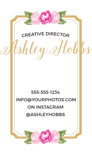Watercolor flowers and a scallop frame make the Floral Stripe Foil Business Cards a cute and professional way to promote your business.