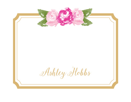 Watercolor flowers in your choice of colors adorn the top of the Floral Stripe Foil Business Stationery.