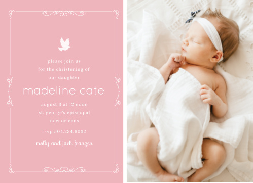 You're daughter's picture, a beautiful scrolling border and a dove illustration makes the Dovey Scrolls Girl Baptism Invitations an endearing baptism or christening invite.