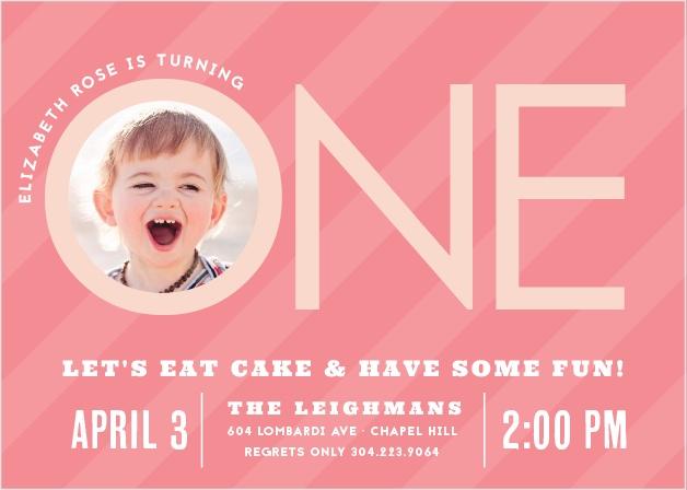 Candy Stripe Girl First Birthday Invitations