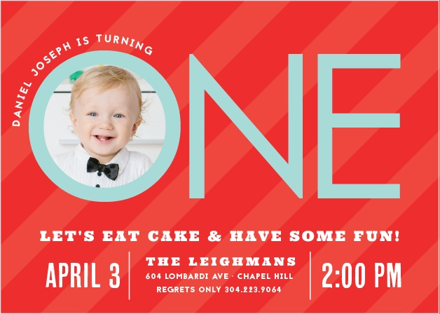 Invite friends and family to a party with the Candy Stripe Boy First Birthday Invitations.