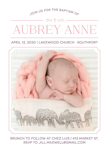 Invite friends and family to celebrate your daughter's baptism or christening with the Classic Cross Girl Baptism Invitations.