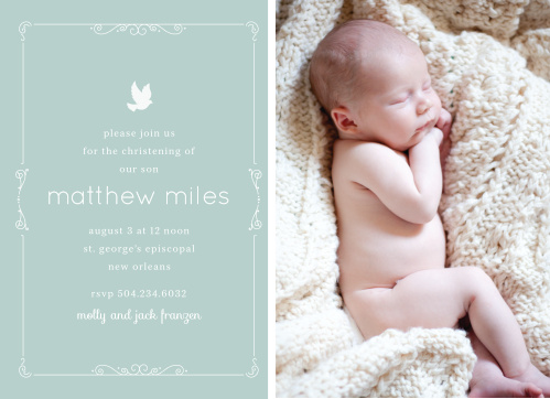 You're son's picture, a beautiful scrolling border and a dove illustration makes the Dovey Scrolls Boy Baptism Invitations an endearing baptism or christening invite.