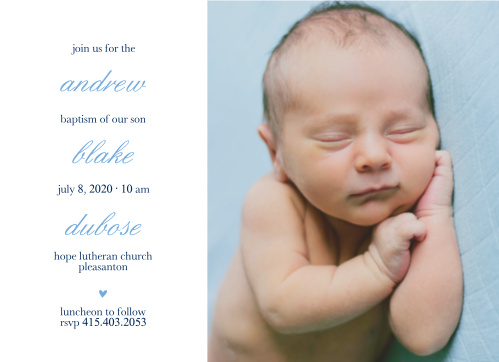 Your son's name is layered between text on the Stacked Text Boy Baptism Invitations.