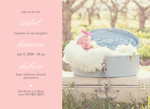 Your daughter's name is layered between text on the Stacked Text Girl Baptism Invitations.
