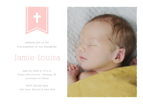 A cross on a flag complements your daughter's photo on the Banner and Cross Girl Baptism Invitations.
