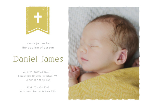 A cross on a flag complements your son's photo on the Banner and Cross Boy Baptism Invitations.