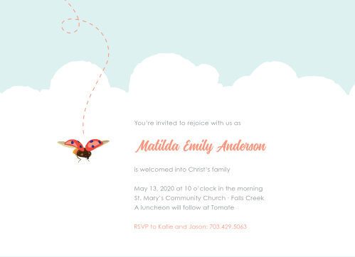 A lively ladybug flutters among cushiony clouds on the Baby Bug Girl Baptism Invitations.