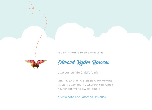 A lively ladybug flutters among cushiony clouds on the Baby Bug Boy Baptism Invitations.