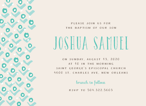 A stylized pattern of rosebuds cascades down the left-hand side of the Blushing Buds Boy Baptism Invitations.