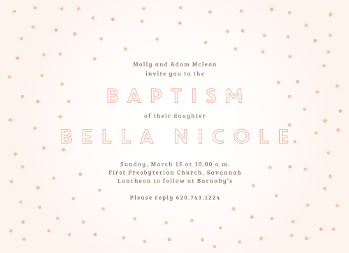 Confetti surrounds your text on the Dapper Dots Girl Baptism Invitations.
