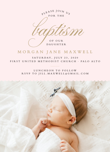 Elegant typefaces make the Scallops and Script Girl Baptism Invitations a sophisticated way to gather friends and family for your child's baptism or christening.