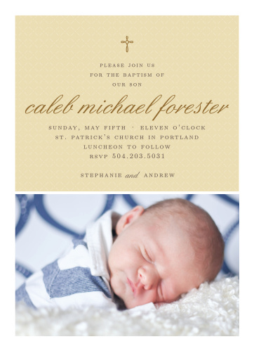 Design an invitation using your son's photo with the Tiny Cross Boy Baptism Invitations.