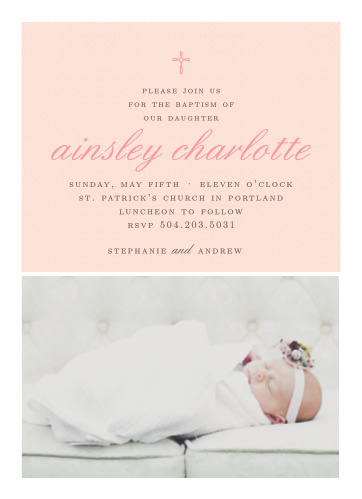 Design an invitation using your daughter's photo with the Tiny Cross Girl Baptism Invitations.
