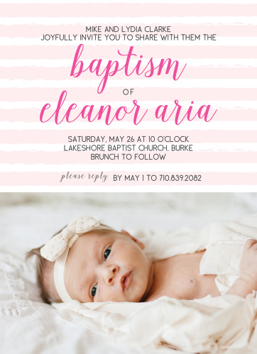 Customize the Brushed Stripes Girl Baptism Invitations with a picture of your tiny lady at the bottom.