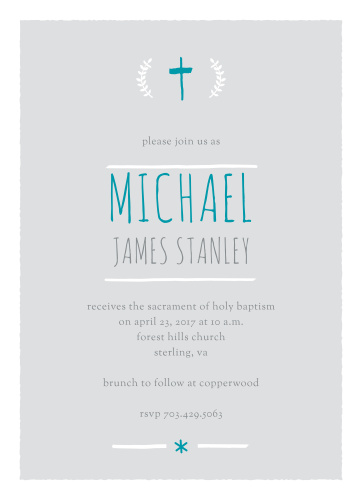 A hand-drawn cross and laurels top the Laurels and Cross Boy Baptism Invitations.